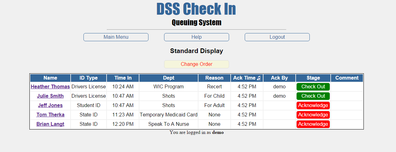 Customer queuing display for social service staff to check-in & check